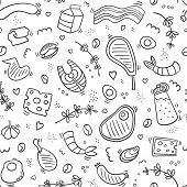 Carnivore Diet Seamless Pattern Doodle. Food Pattern With Pork, Meat, Shrimp, Egg, Cheese, Sausage,  poster