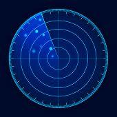 Vector Blue Radar Screen. Futuristic Hud Radar Display. Futuristic Hud Interface. poster