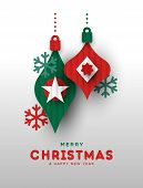 Merry Christmas And Happy New Year Greeting Card Illustration Of Papercut Holiday Baubles. Festive P poster