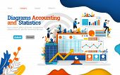 Accounting And Statistics Diagram. Increase Business Performance With Good Accounting. Vector Flat I poster