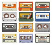 Retro Cassettes. Colorful Plastic Audio Cassette Vintage Media Device Music Technology Tapes Stereo  poster