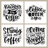 Coffee Hand Written Lettering Badges Set. Funny Creative Phrases For Poster, Tee Shirt, Mug Print, S poster