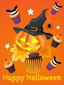 Halloween Background With Halloween Cupcake And Hello Halloween And Happy Halloween Text. Invitation poster