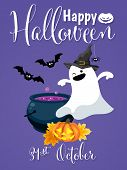 Halloween Background With Cute Ghost In Witch Costume, Halloween Pumpkin Lantern, Potion Pot And Hap poster