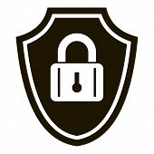 Shield Padlock Icon. Simple Illustration Of Shield Padlock Vector Icon For Web Design Isolated On Wh poster