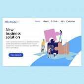New Business Solution, Solve Problem, Business Service Landing Page. Business Solution Web Page, Web poster