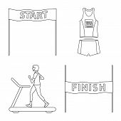 Vector Illustration Of Exercise And Sprinter Icon. Set Of Exercise And Marathon Stock Symbol For Web poster
