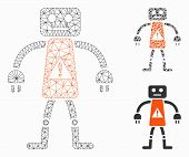 Mesh Robot Danger Model With Triangle Mosaic Icon. Wire Carcass Triangular Mesh Of Robot Danger. Vec poster