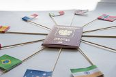 Foreign Passport Of Russian Federation And Flags Of Different Countries Sticked Into Passport Around poster