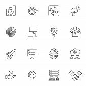 Business Startup Line Icons Set. Linear Style Symbols Collection Outline Signs Pack. Vector Graphics poster