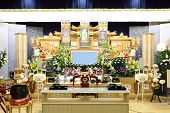 stock photo of funeral home  - Funeral held at general home in Japan - JPG