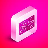Isometric Passport Pages With Visa Stamps Icon Isolated On Pink Background. Opened Foreign Passport  poster
