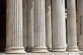 foto of neoclassical  - Ancient pillars at the National Academy of Athens Greece - JPG