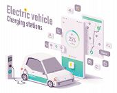 Vector Electric Vehicle Charging Stations App Concept. Smartphone With Car Charging Details, Electri poster
