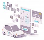 Vector Car Sharing, Hire Or Car Rental App Concept. Smartphone With Map And Navigation To Closest Ca poster