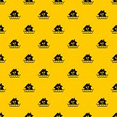 House Sinking In A Water Pattern Seamless Repeat Geometric Yellow For Any Design poster