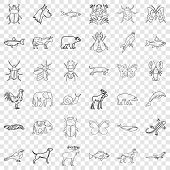 Mammal Icons Set. Outline Style Of 36 Mammal Icons For Web For Any Design poster