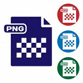 Blue Png File Document. Download Png Button Icon Isolated On White Background. Png File Symbol. Set  poster