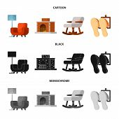 Vector Illustration Of Comfort And Equipment Icon. Set Of Comfort And Furniture Vector Icon For Stoc poster