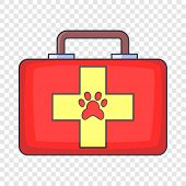 Red Pet First Aid Kit Icon. Cartoon Illustration Of Red Pet First Aid Kit Icon For Web poster