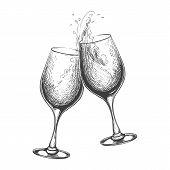 Hand Drawn Wine Toast. Vector Toasting Sketch Image, Hand Drawn Wines Drinking Glasses With Splash poster