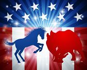A Donkey And Elephant In Silhouette Charging At Each Other. Mascot Animals Of American Democratic An poster