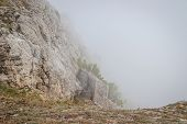 Ai-petri Mountain In The Fog. High Mountain. Crimea. Russian Mountains. Low Clouds. Beautiful Mounta poster