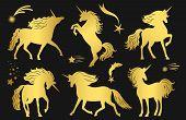 Magic Golden Unicorns And Falling Stars Vector Set. Illustration Of Magic Unicorn With Star Fantasy, poster
