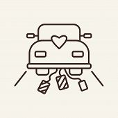 Wedding Car Line Icon. Wedding Journey, Just Married, Honeymoon. Wedding Concept. Vector Illustratio poster