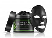 Cosmetics Setting Ads. Black Package Template With Charcoal And Black Facial Mask. Charcoal Cosmetic poster