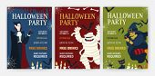 Bundle Holiday Flyer Or Poster Templates With Halloween Characters - Vampire Drinking Blood, Mummy,  poster