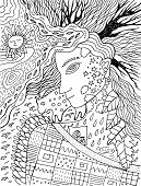 Cute And Cozy Illustration With Autumn Spirit. Surreal Lineout Artwork. Fairy Tale Coloring Page For poster