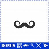 Whiskers Icon Flat. Simple Vector Symbol And Bonus Icon poster