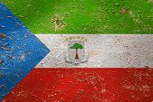 National Flag Of Equatorial Guinea On Old Peeling Wall Background.the Concept Of National Pride And  poster