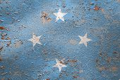 National Flag Of Federal States Of Micronesia On Old Peeling Wall Background.the Concept Of National poster