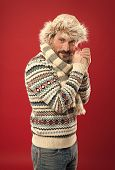 Suffering From Cold. Bearded Man Accessorizing Sweater With Hat And Scarf. A Winter Ensemble Protect poster