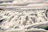 Waterfall Gullfoss In Iceland, Reykjavik. Gullfoss Is Bigger Waterfall Famous Landmark In Iceland. R poster