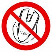 No Click. No Pc Mouse Icon. No Joystick Sign. Forbidden, Prohibited Gaming Icon Line Sign Design. Do poster