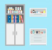 Vet Bottles And Drugs Placed In Cabinet, Chest Of Drawers Of Vet Clinic Vector. Books And Files Of D poster