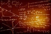 stock photo of pythagoras  - Science Mathematics Physics Illustration formulas in a cool design - JPG