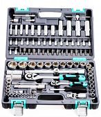 Perfect Tool Kit. Chrome Plating Socket Wrench Or Spanner In Compact Case. Pro Set Of Tools. Torx To poster