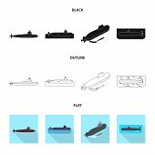 Isolated Object Of War And Ship Sign. Set Of War And Fleet Vector Icon For Stock. poster