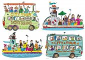 A Set Of Cute Sightseeing Vehicles. Buses And Boats. Cartoon. poster