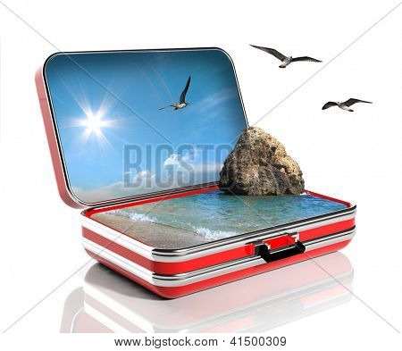 Summer vacation concept. Travel suitcase with seascape inside