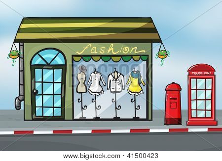 Illustration of a fashion store and a callbox near the street