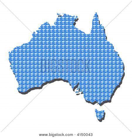 Australia Map With Dollars