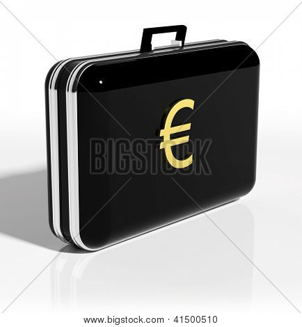 Black suitcase with golden euro symbol