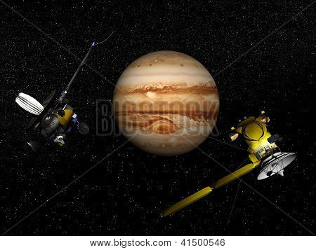 Galileo And Cassini Spacecraft Next To Jupiter - 3D Render