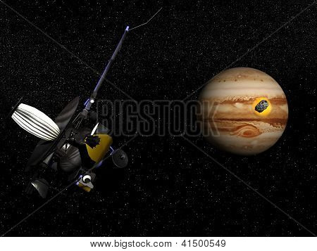 Galileo Observing Comet Shoemaker-levy 9 Crashing Into Jupiter - 3D Render