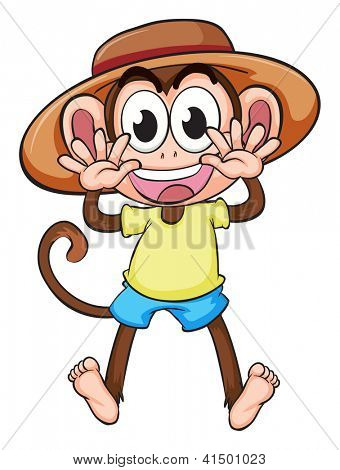 Illustration of a monkey wearing a hat on a white background